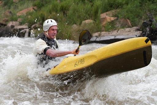 Alick Rennie in action in his downriver boat during the flooded N3TC Drak Challenge. The Alick Rennie Fellowship Award will be presented in his memory for the first time at this weekend's N3TC Drak Challenge Canoe Marathon. Photo: Pierre Retief/ Sportspics /  Gameplan Media