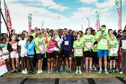 Runners line up at the start of the 5km race of the inaugural SPAR Family Challenge that took place this weekend in East London. Photo: Dean Venish