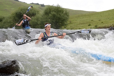 Dusi K1 champs Lance Kime, seen here leading Grant van der Walt through Glenhaven Rapid during last year's N3TC Drak Challenge, is targeting a podium finish in this year's Drak Challenge as part of his preparations for the defence of his Dusi crown. Photo: Anthony Grote /  Gameplan Media