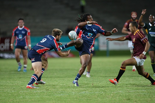 FNB NMMU-Madibaz's Daniel Acker (left) and Tythan Adams showed determined effort during their FNB Varsity Cup showdown with FNB Maties in Stellenbosch on Monday night. Photo: Liam Hamer-Nel/Saspa