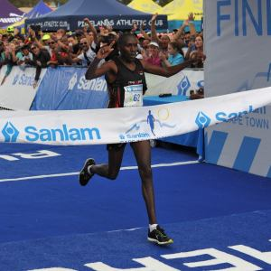 Shadrack Kemboi won the 42km Cape Town Marathon, which took place at the Green Point Stadium A Track today. Photo: Supplied