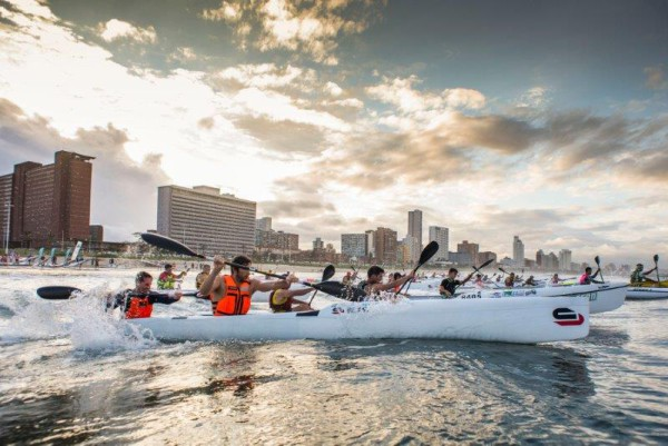 Perfect weather conditions meant that paddlers could make the most of the final race of the 2016 Varsity College FNB Marine Surfski Series yesterday. Photo: Anthony Grote