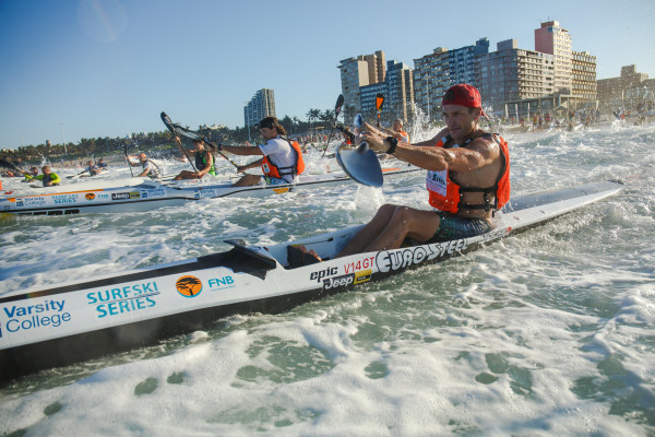 Hank McGrego clinched the spoils today at the Bay Union Surfski Challenge, race six of the 2016 Varsity College FNB Marine Surfski Series. Photo: Kevin Sawyer