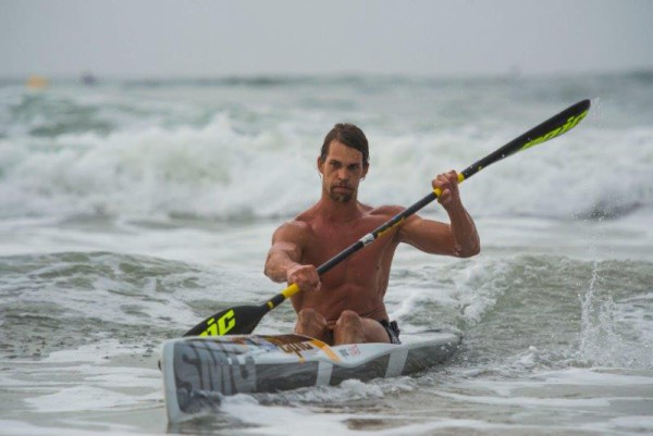 Matt Bouman claimed his fourth win in the Marine Surfski Series yesterday. Photo: Anthony Grote