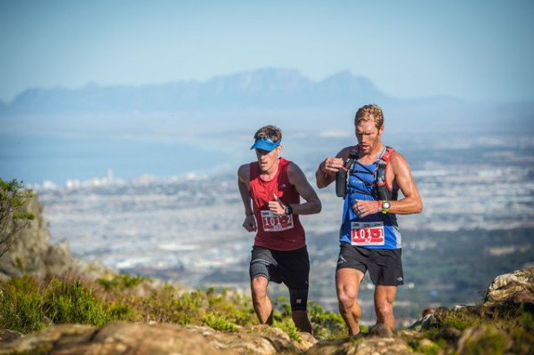 In this picture is Ben Brimble and AJ Calitz (from left to right) of Team KWay North Face in action at stage two of the Cell C AfricanX Trailrun today. Photo Credit: Tobias Ginsberg