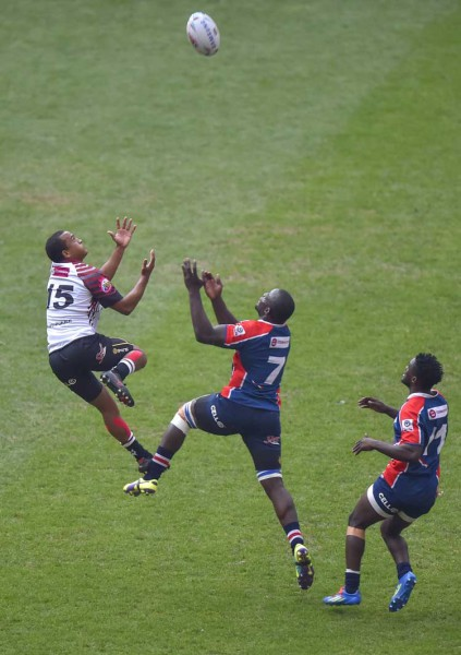 NMMU-Madibaz's Kevin Kaba challenges for possession in the Varsity Cup match against Pukke. Photo: Saspa