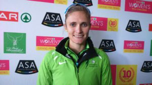 Irvette van Zyl won the 10km SPAR Women's Challlenge in Port Elizabeth, today. Photo: Full Stop Communications