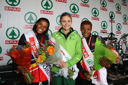 The podium finishers in the 10km race at the SPAR Women's Challenge in Port Elizabeth were, from left, Diana-Lebo Phalula (third), Irvette van Zyl (first) and Lebogang Phalula (second). Photo: Leon Hugo