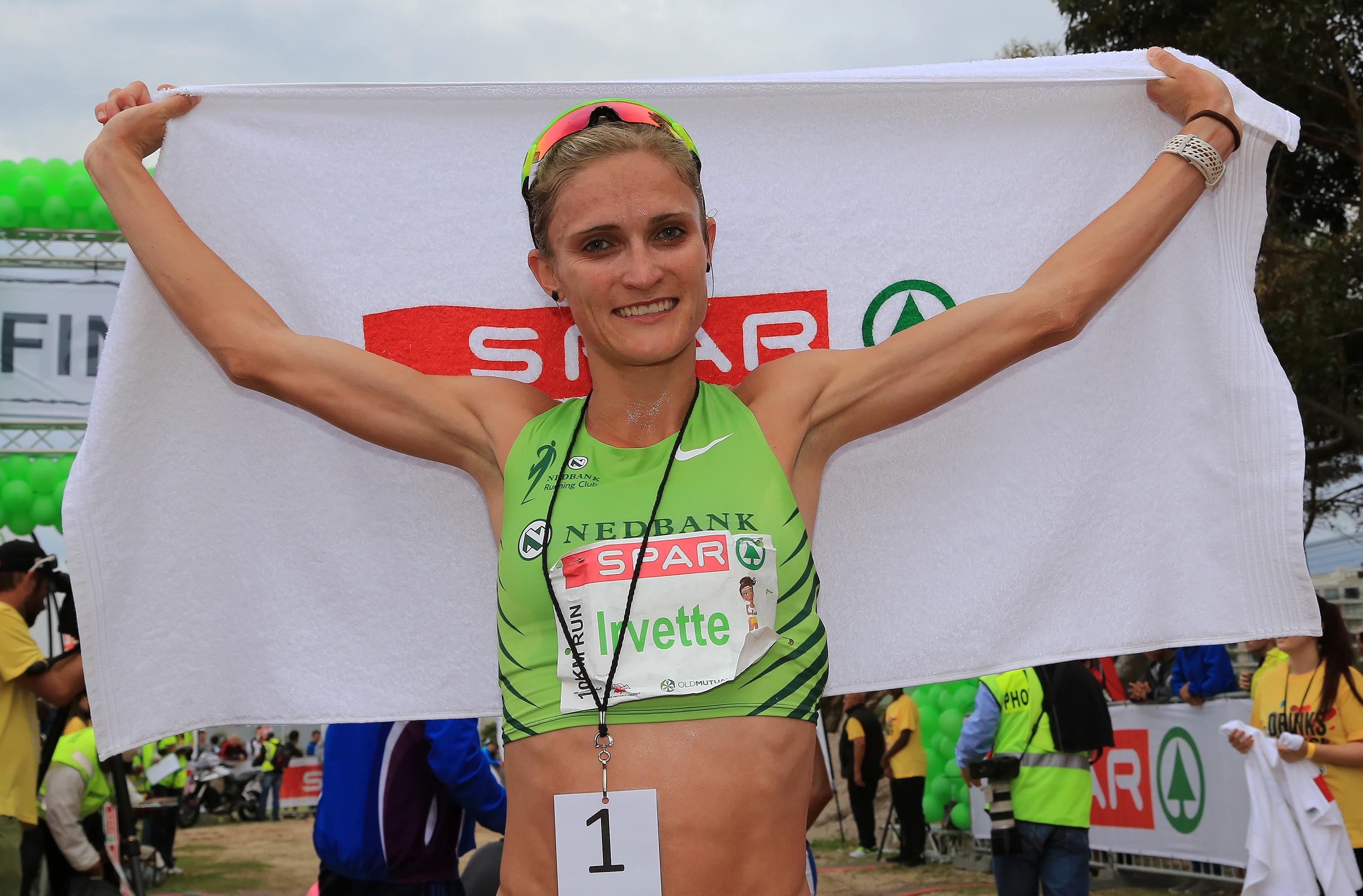 Irvette van Zyl, the winner of the SPAR Women's Challenge in Durban today. Photo: Reg Caldecott.