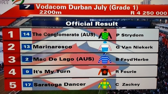 The top five horses in this year's Durban July race. Photo: supplied