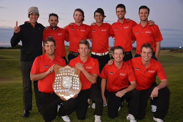 The Madibaz-NMMU A and B teams which captured the team titles at the USSA golf tournament were, back row, from the left: Brendon Timm (manager), Johan Coetzer, Wihan Kleyn, Jacques Smith, Luke Jerling, Mike Usendorff; front row, from the left: Colin Baldie, Hando Brophy, Steve Dent, Michael Maybery. Photo: Karl du Preez