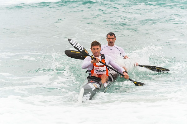 The second day belonged to Euro Steel/Epic Kayak's Hank McGregor and Lee Furby who won the Gara Dolphin Coast Challenge from Suncoast Pirates to Zinkwazi on Sunday. Photo: Anthony Grote
