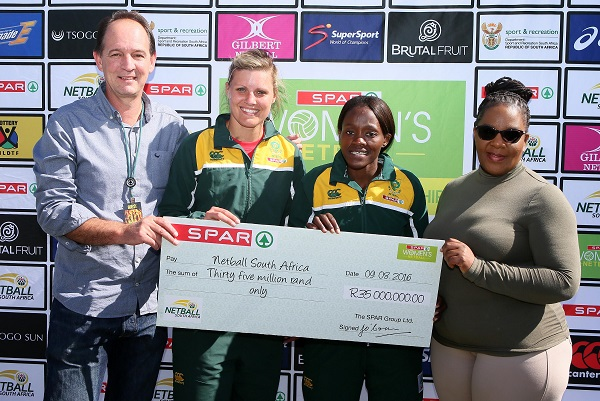 At the sponsorship announcement on Women's Day in Durban were, from left, SPAR marketing executive Mike Prentice, Proteas captain Maryka Holtzhausen, national team vice-captain Bongi Msomi and Mimi Mthethwa (NSA president). Photo: Reg Caldecott