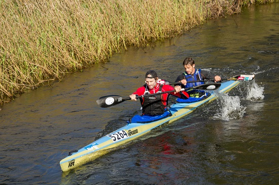 Graeme Solomon (left) and Greg Louw raced hard but had to settle for second place on the final stage of the Breede River Canoe Marathon on Sunday. Photo: Kassie Karstens