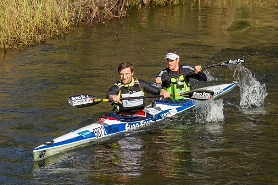 Jasper Mocké (left) and Stu MacLaren extending their overnight lead to race to victory on the final stage of the Breede River Canoe Marathon on Sunday. Photo: Kassie Karstens