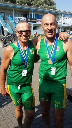 South Africa continued their good form at the Canoe Marathon Masters World Cup when they bagged a further six medals yesterday, including a C2 bronze medal by Radoslaw Olszewski (right) and Andrezej Lenartowski. Photo: Supplied