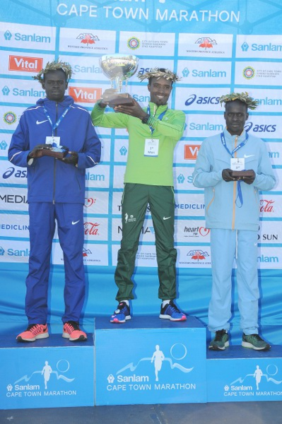 The entire men's podium stayed under David Tsebe's South African all-comers record at the Cape Town Marathon. Photo: Cape Town Marathon