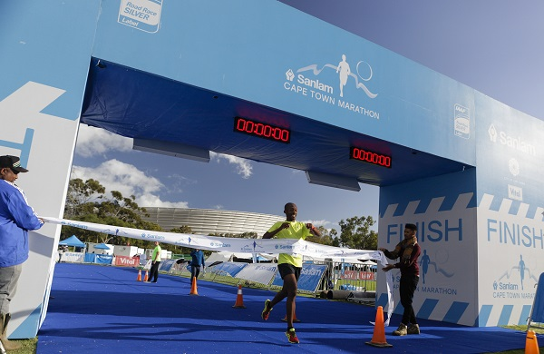 Edwin Sesipi wins the 22km Peace Trail run at the Cape Town Marathon today. Photo: Supplied