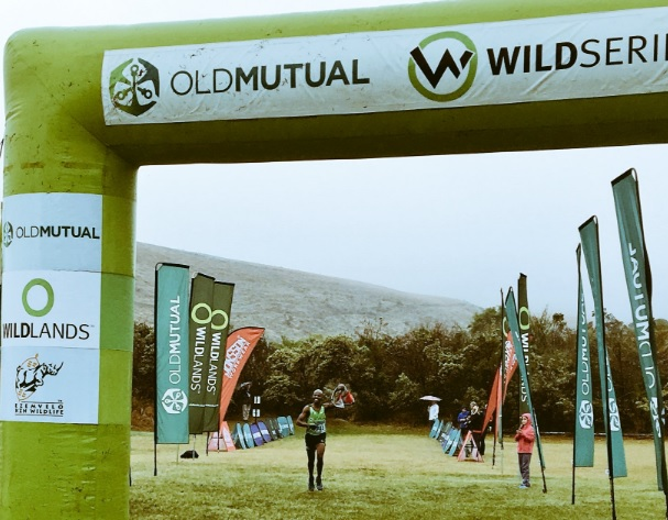 Eric Ngubane at the Mont-Aux-Sources Challenge finish in KwaZulu-Natal today. Photo: twitter.com/KZNTRAILRUNNING