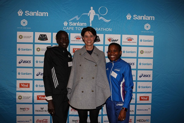 Jane Jepkosgei Kiptoo (Kenya), Mariska Oosthuizen and Keneilwe Sesing (South Africa) ahead of the Cape Town Marathon taking place this weekend. Photo: Supplied