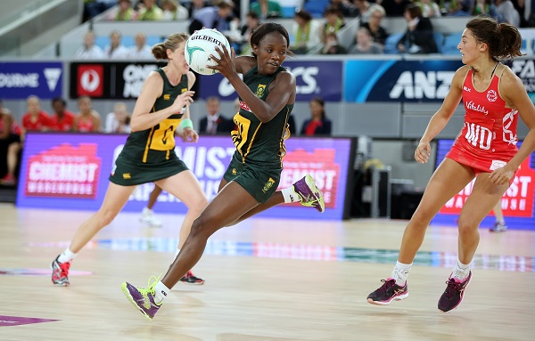 SPAR Proteas wing attack and captain Bongi Msomi controls the ball during South Africa's game against England in the Quad Series in Melbourne on Sunday. Photo: David Callow