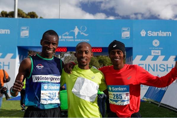 Edwin Sesipi won the 22km Peace Trail Run at the Cape Town Marathon today. He was followed by Gladwin Mudzinganyanga in second and Bernard Rukadza in third. Photo: Facebook/CTMarathon