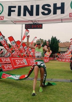 Irvette van Zyl, 2016 SPAR Women's Challenge winner, crossing the finish in Johannesburg today. Photo: twitter.com/SPARLadiesJhb