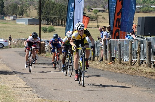 Time Freight's Lise Olivier sprints to the top spot in the Bestmed Satellite Classic at Saloon Route 66 near Hartbeespoort Dam on Saturday. Photo: Jetline Action Photo