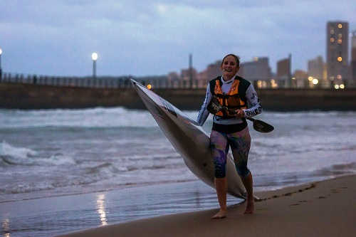 Euro Steel/Fenn Kayaks' Jenna Ward took maximum points in the ladies race at the opening race of the Wall and Back Surfski Series on Friday. Photo: Anthony Grote