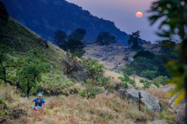 An image of a trail runner during the Mont-Aux-Sources Challenge yesterday.