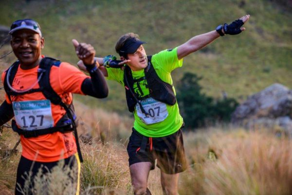 An image of trail runners striking a pose during the Mont-Aux-Sources Challenge yesterday.