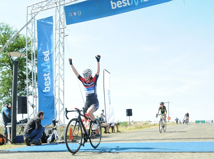Demacon's Carla Oberholzer celebrates her first Bestmed Satellite Championship title in Maropeng today.