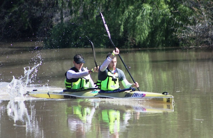 Stuart Maclaren (front) and Cyrille Carre took the overall honours after the first stage of the Fish River Canoe Marathon in Cradock on Friday.