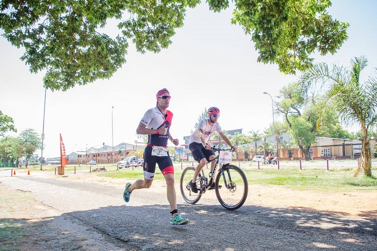 A runner and cyclist in action during this year's 5150 Ekurhuleni Triathlon.