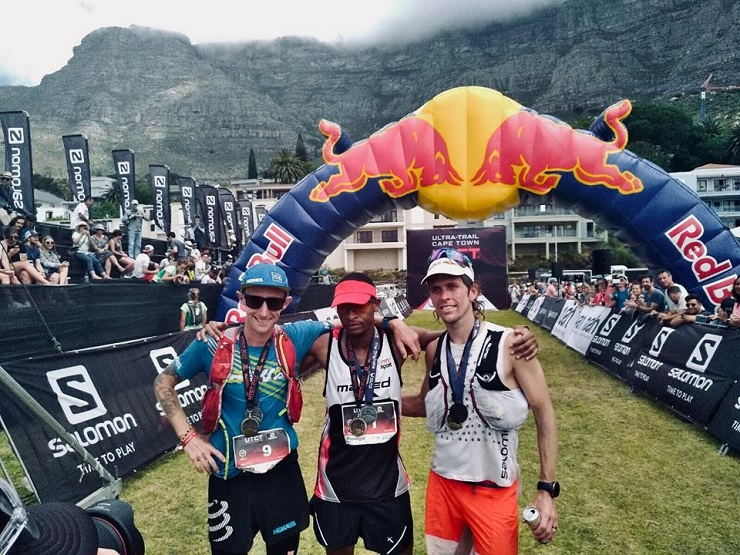Prodigal Kumalo (middle) won the 100km Ultra Trail Cape Town today. Photo: www.facebook.com/UltraTrailWorldTour/