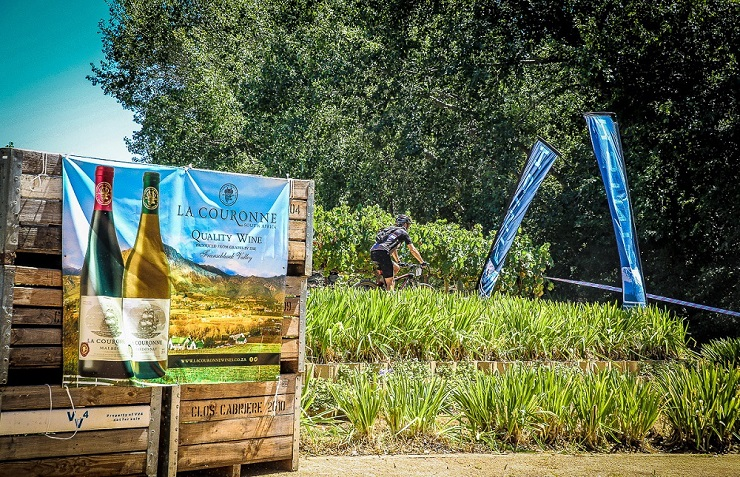 A rider on their way to the finish at La Couronne Wine Estate during the 2017 TransCape MTB Encounter.