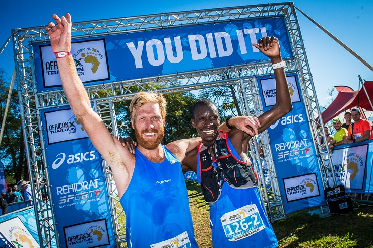 AJ Calitz (left) and Bernard Rukadza pictured after winning the overall AfricaX Trailrun today. Photo: Tobias Ginsberg