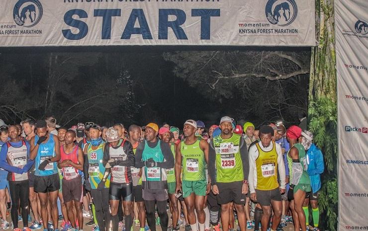 John April and Alex Tasker won the Knysna Forest Marathon on Saturday. Photo: Deidre Cloete