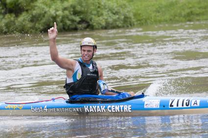 Grant van der Walt celebrates his first ever seniors singles river marathon title at the two-day N3TC Drak Challenge. Photo: Anthony Grote/Gameplan Media