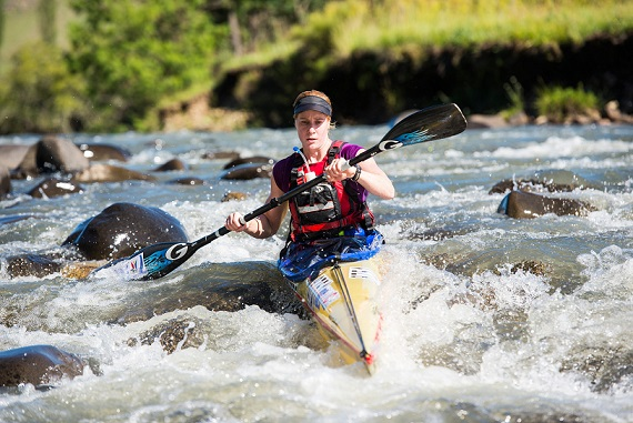 Four-time N3TC Drak Challenge winner Abby Adie used all of her experience as she paddled herself into a solid position at the end of the first day of the 2015 race and the Kayak Centre/Natal Canoe Club ace has a solid lead going into the second and final day.