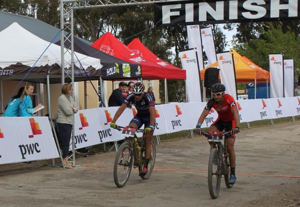 Pieter Seyffert (left) and Kevin Evans of Biogen Volcan-Altech Autopage drew first blood on day one of the PwC Great Zuurberg Trek near Addo outside Port Elizabeth on Friday. Photo: Full Stop Communications