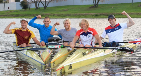 Five top international paddlers will spice up the 2015 Berg River Canoe Marathon from Paarl to Velddrif from 15-18 July, from left Jakub Adam (Czech Republic), Joep van Bakel (The Netherlands), Brendon Rice (Australia), Kiko Vega (Spain) and Keith Moule (Great Britain). Photographer:John Hishin