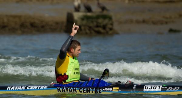 Jeep Team/Kayak Centre's Hank McGregor claims victory in the 2015 Berg River Canoe Marathon as he reaches crosses the finish line in Velddrif on Saturday.Photo:John Hishin/ Gameplan Media