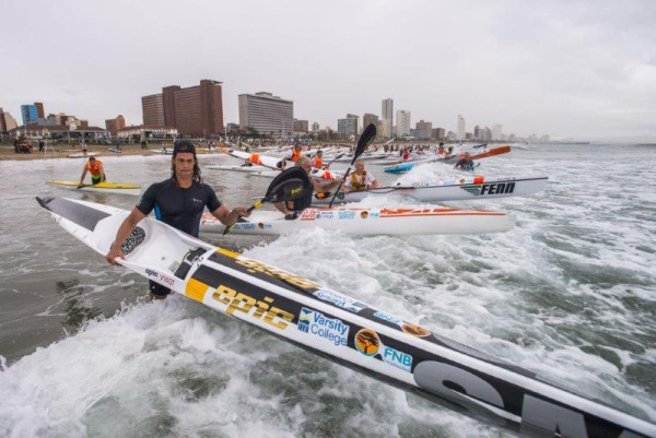 Epic Kayaks' Matt Bouman (foreground) in action at the Borland Surfski Challenge, the second race of the 2016 Varsity College FNB Marine Surfski Series. Photo: Anthony Grote