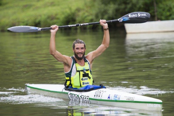 Winner, Andy Birkett, at the finish of the 2016 Drak Challenge today. Photo: Anthony Grote.