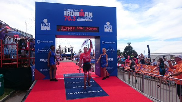 Britain's Jodie Swallow finishes first at the Standard Bank Ironman 70.3 in East London today. Photo: twitter.com/IMSouthAfrica