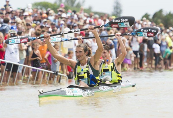 Andy Birkett and Lance Kime wins the 2016 Dusi Canoe Marathon which took place from Pietermaritzburg to Durban over three days. Photo: Anthony Grote