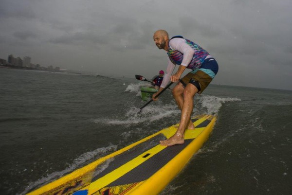 Shayne Chipps navigates his way to the finish line at race seven of the Marine Surfski Series. Photo: Anthony Grote