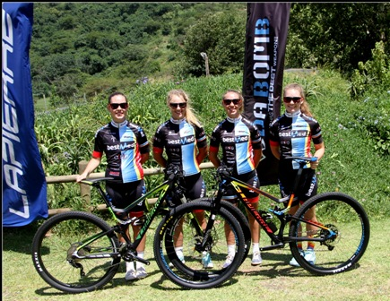 Bestmed-Lapierre Factory Team riders, from left, Sabrina van Wyk, Nicolene Marais, Azulde Britz and Lynette Benson. Photo: Supplied