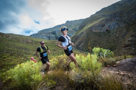 Dawid Visser and Leilani Scheffer (from left to right) of Team ASICS Beat The Sun claimed overall winning title in the mixed teams category at the Cell C AfricanX Trailrun today. Photo Credit: Tobias Ginsberg